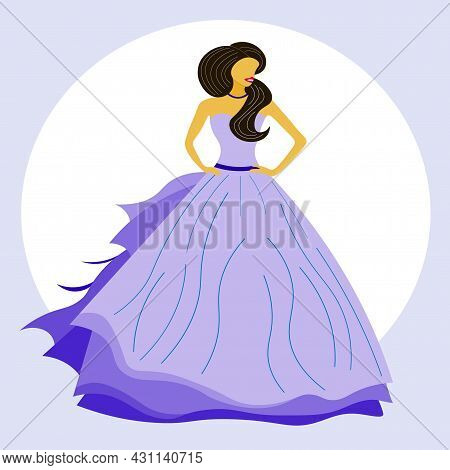 Cute Princess, Beautiful Girl, Lady In Light Blue Fluffy And Long Floor-length Dress. Girl With Long