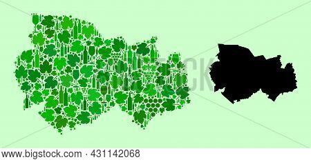 Vector Map Of Novosibirsk Region. Mosaic Of Green Grape Leaves, Wine Bottles. Map Of Novosibirsk Reg