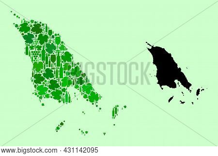 Vector Map Of Koh Chang. Composition Of Green Grapes, Wine Bottles. Map Of Koh Chang Collage Created