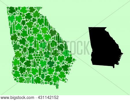 Vector Map Of Georgia State. Composition Of Green Grape Leaves, Wine Bottles. Map Of Georgia State C