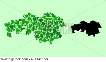 Vector Map Of North Brabant Province. Mosaic Of Green Grape Leaves, Wine Bottles. Map Of North Braba