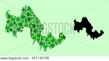 Vector Map Of Tilos Island. Mosaic Of Green Grape Leaves, Wine Bottles. Map Of Tilos Island Mosaic C