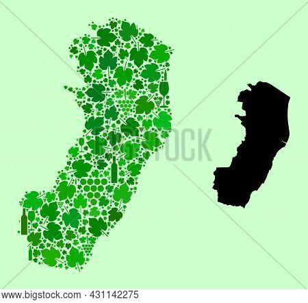 Vector Map Of Espirito Santo State. Collage Of Green Grapes, Wine Bottles. Map Of Espirito Santo Sta