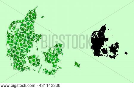 Vector Map Of Denmark. Collage Of Green Grape Leaves, Wine Bottles. Map Of Denmark Collage Designed