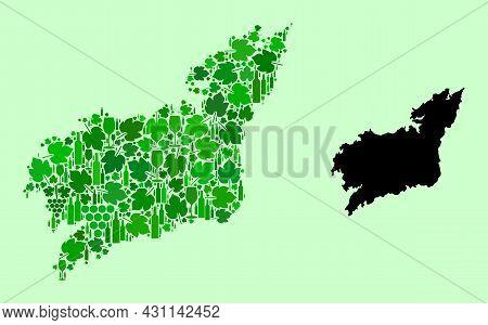 Vector Map Of La Coruna Province. Collage Of Green Grapes, Wine Bottles. Map Of La Coruna Province C