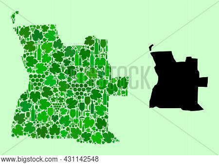 Vector Map Of Angola. Mosaic Of Green Grape Leaves, Wine Bottles. Map Of Angola Mosaic Formed From B