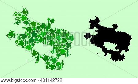 Vector Map Of Alava Province. Collage Of Green Grape Leaves, Wine Bottles. Map Of Alava Province Col