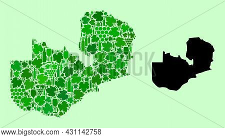 Vector Map Of Zambia. Composition Of Green Grape Leaves, Wine Bottles. Map Of Zambia Collage Created