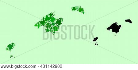 Vector Map Of Baleares Province. Composition Of Green Grape Leaves, Wine Bottles. Map Of Baleares Pr