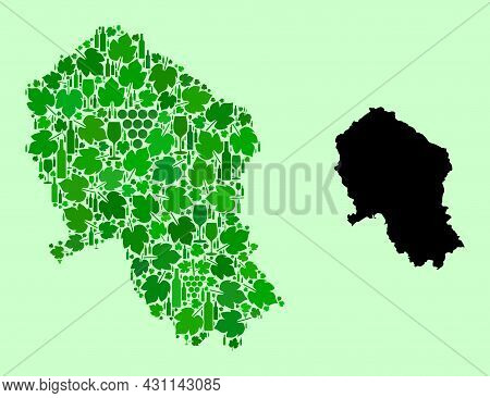 Vector Map Of Cordoba Spanish Province. Mosaic Of Green Grape Leaves, Wine Bottles. Map Of Cordoba S