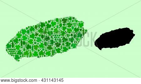 Vector Map Of Jeju Island. Collage Of Green Grapes, Wine Bottles. Map Of Jeju Island Collage Compose