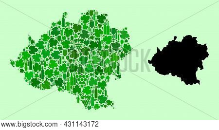 Vector Map Of Soria Province. Collage Of Green Grapes, Wine Bottles. Map Of Soria Province Collage C