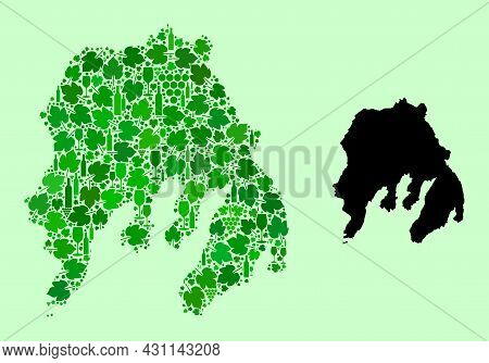 Vector Map Of Gambier Island. Mosaic Of Green Grape Leaves, Wine Bottles. Map Of Gambier Island Mosa