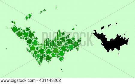 Vector Map Of Saint Barthelemy. Mosaic Of Green Grape Leaves, Wine Bottles. Map Of Saint Barthelemy