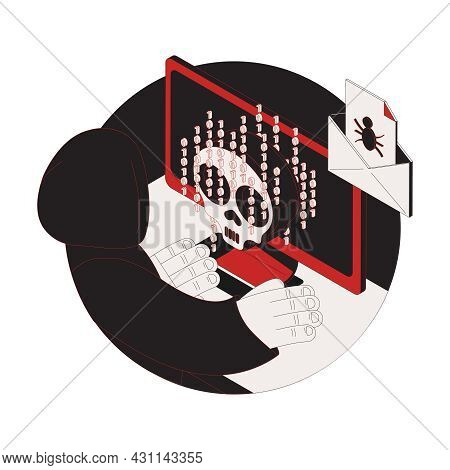 Cyber Attack Dark Isometric Composition With Hacker Biometric Code Infected Email 3d Vector Illustra