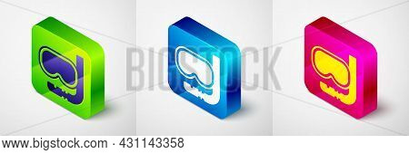 Isometric Diving Mask And Snorkel Icon Isolated On Grey Background. Extreme Sport. Diving Underwater