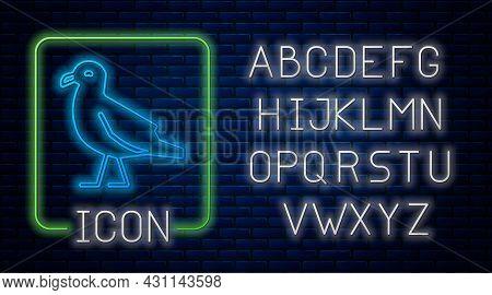 Glowing Neon Bird Seagull Icon Isolated On Brick Wall Background. Neon Light Alphabet. Vector
