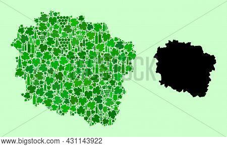 Vector Map Of Kujawy-pomerania Province. Mosaic Of Green Grapes, Wine Bottles. Map Of Kujawy-pomeran
