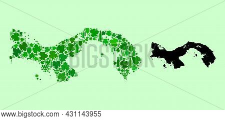 Vector Map Of Panama. Mosaic Of Green Grape Leaves, Wine Bottles. Map Of Panama Mosaic Formed From B
