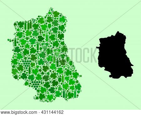 Vector Map Of Lublin Province. Mosaic Of Green Grape Leaves, Wine Bottles. Map Of Lublin Province Mo