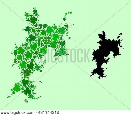 Vector Map Of Komodo Island. Mosaic Of Green Grapes, Wine Bottles. Map Of Komodo Island Mosaic Desig