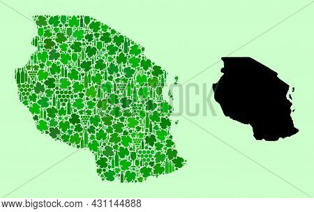 Vector Map Of Tanzania. Collage Of Green Grape Leaves, Wine Bottles. Map Of Tanzania Collage Compose