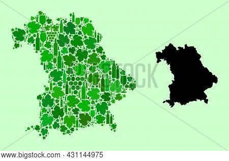 Vector Map Of Bavaria State. Combination Of Green Grapes, Wine Bottles. Map Of Bavaria State Mosaic