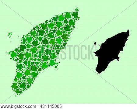 Vector Map Of Rhodes Island. Mosaic Of Green Grape Leaves, Wine Bottles. Map Of Rhodes Island Mosaic