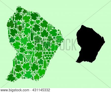 Vector Map Of French Guiana. Collage Of Green Grape Leaves, Wine Bottles. Map Of French Guiana Mosai