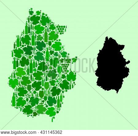 Vector Map Of Lugo Province. Collage Of Green Grapes, Wine Bottles. Map Of Lugo Province Collage Des