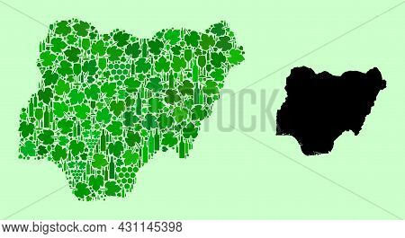 Vector Map Of Nigeria. Collage Of Green Grapes, Wine Bottles. Map Of Nigeria Collage Composed From B
