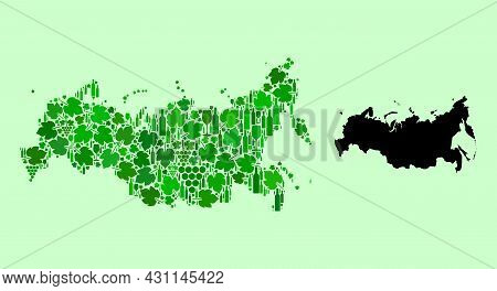 Vector Map Of Russia. Collage Of Green Grape Leaves, Wine Bottles. Map Of Russia Collage Designed Fr
