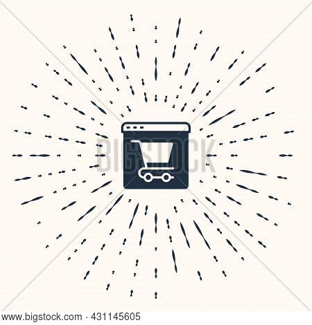 Grey Online Shopping On Screen Icon Isolated On Beige Background. Concept E-commerce, E-business, On