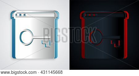 Paper Cut Secure Your Site With Https, Ssl Icon Isolated On Grey And Black Background. Internet Comm