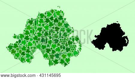 Vector Map Of Northern Ireland. Combination Of Green Grape Leaves, Wine Bottles. Map Of Northern Ire
