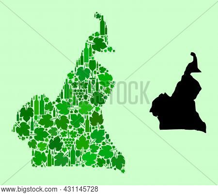 Vector Map Of Cameroon. Collage Of Green Grapes, Wine Bottles. Map Of Cameroon Mosaic Designed With