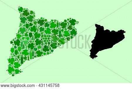 Vector Map Of Catalonia. Collage Of Green Grape Leaves, Wine Bottles. Map Of Catalonia Collage Compo
