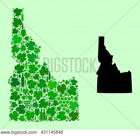 Vector Map Of Idaho State. Collage Of Green Grape Leaves, Wine Bottles. Map Of Idaho State Collage D