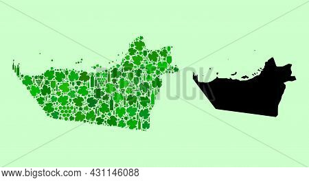 Vector Map Of Abu Dhabi Emirate. Composition Of Green Grape Leaves, Wine Bottles. Map Of Abu Dhabi E