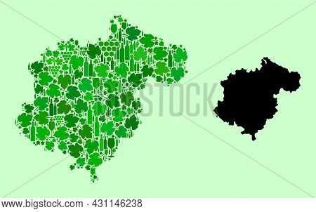 Vector Map Of Teruel Province. Mosaic Of Green Grapes, Wine Bottles. Map Of Teruel Province Mosaic C