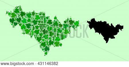 Vector Map Of Jilin Province. Mosaic Of Green Grapes, Wine Bottles. Map Of Jilin Province Mosaic Cre