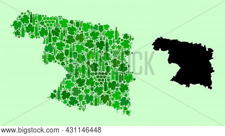 Vector Map Of Zamora Province. Mosaic Of Green Grapes, Wine Bottles. Map Of Zamora Province Mosaic D
