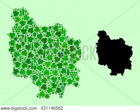 Vector Map Of Burgundy Province. Collage Of Green Grapes, Wine Bottles. Map Of Burgundy Province Col