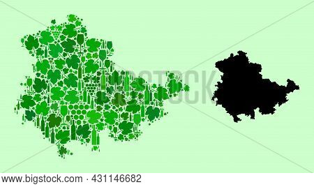 Vector Map Of Thuringia State. Collage Of Green Grapes, Wine Bottles. Map Of Thuringia State Collage