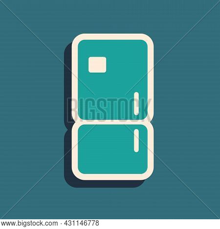 Green Refrigerator Icon Isolated On Green Background. Fridge Freezer Refrigerator. Household Tech An
