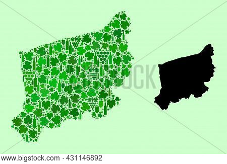 Vector Map Of West Pomerania Province. Mosaic Of Green Grapes, Wine Bottles. Map Of West Pomerania P