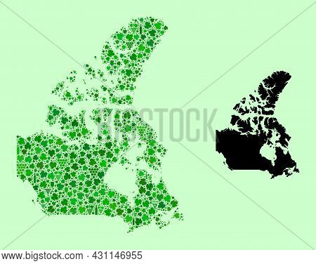 Vector Map Of Canada. Collage Of Green Grape Leaves, Wine Bottles. Map Of Canada Mosaic Composed Fro