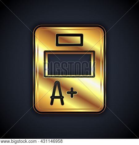 Gold Exam Sheet With A Plus Grade Icon Isolated On Black Background. Test Paper, Exam, Or Survey Con
