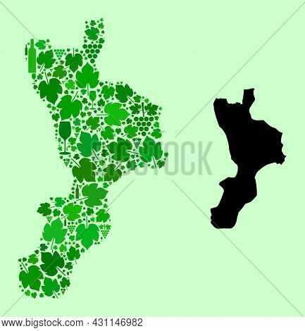 Vector Map Of Calabria Region. Mosaic Of Green Grape Leaves, Wine Bottles. Map Of Calabria Region Mo