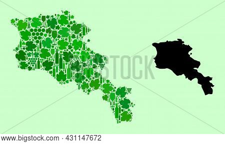 Vector Map Of Armenia. Collage Of Green Grape Leaves, Wine Bottles. Map Of Armenia Collage Created W